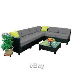 Outdoor Aluminum Frame Wicker Sofa Rattan Chair Patio Furniture Sectional 7PC