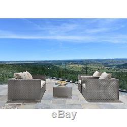 Outdoor Backyard Patio 4PC Sectional Furniture Wicker Sofa Set