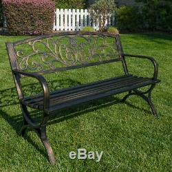 Outdoor Bench Patio Chair Metal Garden Furniture Deck Backyard Park Porch Seat