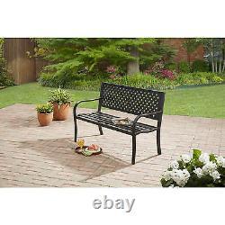 Outdoor Bench Seat Garden Park Porch Patio Chair Metal Furniture Yard Backyard