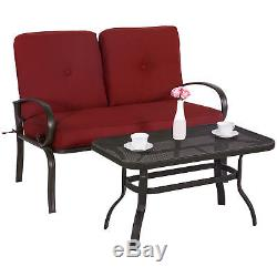 Outdoor Bistro Set Garden Patio Furniture Cafe Table Loveseat Chair Wrought Iron