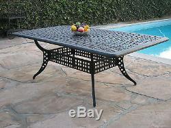 Outdoor Cast Aluminum Patio Furniture 9 Piece Dining Set KR with 2 Swival Rocker