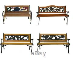 Outdoor Cast Iron Park Porch Chair Patio Garden Bench Hardwood Furniture