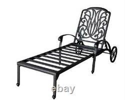 Outdoor Chaise Lounge Elisabeth Cast Aluminum All Weather Patio furniture Bronze