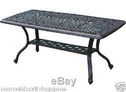 Outdoor Coffee Table Elisabeth Patio Furniture Cast Aluminum Garden Decor Bronze