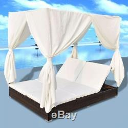 Outdoor Daybed Lounge with Curtains Sun Bed Pool Patio Garden Deck Furniture Set