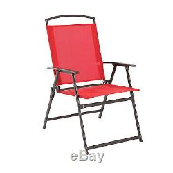 Outdoor Dining Set Patio Backyard with Table 4 Chairs and Umbrella Furniture Red