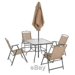 Outdoor Dining Set Patio Furniture Backyard with Table 4 Chairs and Umbrella Tan