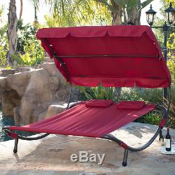 Outdoor Double Chaise Lounge Pool Hammock Sunbed Daybed Canopy Patio Furniture