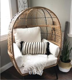 Outdoor Egg Chair Bench Wicker Garden Patio Yard Furniture Modern Accent Seating