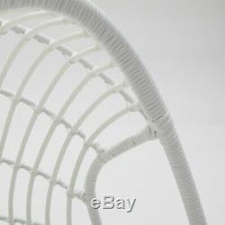 Outdoor Egg Chair Stand Hanging Resin Wicker Basket Deck Patio Furniture White