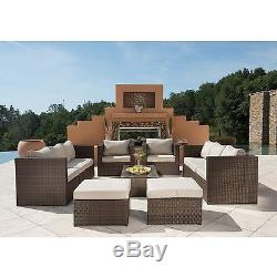 Outdoor Furniture 12 Pieces Patio Sectional Wicker Rattan Sofa set by Supernova