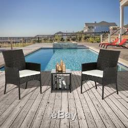 Outdoor Furniture Patio Set Wicker Rattan Conversation Set Chairs Table 3pcs
