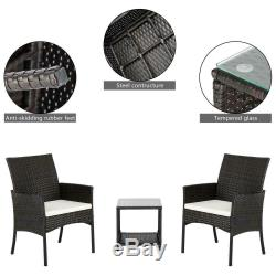 Outdoor Furniture Patio Set Wicker Rattan withCushions Sofa Set Chairs Table 3pcs