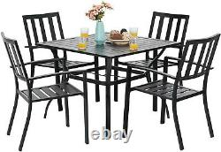 Outdoor Furniture Set 5 Metal Patio Chairs 37'' Square Table Black Furniture