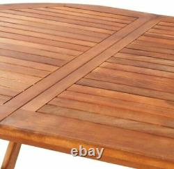 Outdoor Garden Wooden Folding Dining Table Furniture Oval Acacia Wood Patio