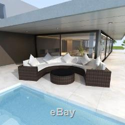 Outdoor Half Round Lounger Rattan Wicker Sectional Sofa Patio Furniture Brown
