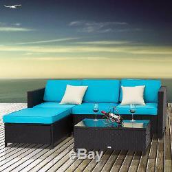 Outdoor Indoor 5PC Patio Rattan Wicker Sofa Set Cushions Sectional Garden
