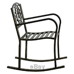 Outdoor Metal Rocking Chair Porch Seat Patio/Backyard/Park/Lawn/Deck Bench Brown