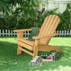Outdoor Natural Fir Wood Adirondack Chair Patio Lawn Deck Garden Furniture