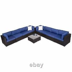 Outdoor PE Wicker Rattan Sofa Set 9 PCS Patio Garden Sectional Furniture