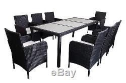 Outdoor Patio Black Wicker Furniture Chair Dining Table Set 7pcs/9pcs Cushioned