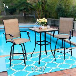 Outdoor Patio Chair Set of 2 Swivel Counter Height Chairs Tall Bar Chairs Stools