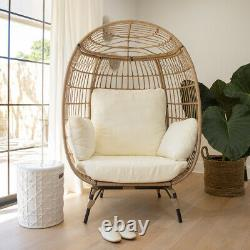 Outdoor Patio Egg Chair Basket Lounge Thick Seat Chair With Cushion Wicker Beige
