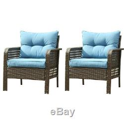 Outdoor Patio Furniture 2 PCS Rattan Sofa Wicker Single Chair With Cushions Set