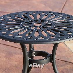 Outdoor Patio Furniture 3pcs Black Sand Cast Aluminum Bistro Set