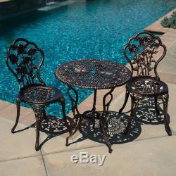 Outdoor Patio Furniture 3pcs Cast Aluminum Bistro Set Table in Antique Bronze HD