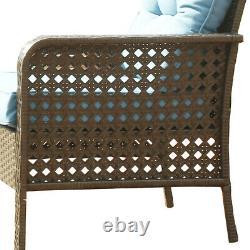 Outdoor Patio Furniture 4 PCS Rattan Sofa Wicker Chair Cushions Table Set Blue