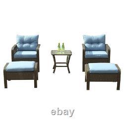 Outdoor Patio Furniture 5 PCS Rattan Sofa Wicker Chair Cushions Table Set Blue