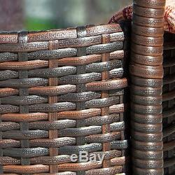 Outdoor Patio Furniture 5-pc Brown PE Wicker Counter Stool Bar Set with Ice Pail