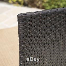 Outdoor Patio Furniture 7pc Multibrown Wicker Oval Dining Set with Cushions
