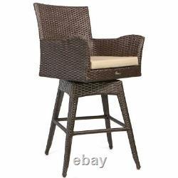 Outdoor Patio Furniture All-Weather Brown PE Wicker Swivel Bar Stool Set of 2