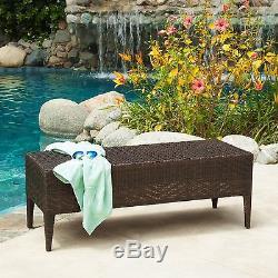 Outdoor Patio Furniture All-Weather PE Wicker Garden Bench