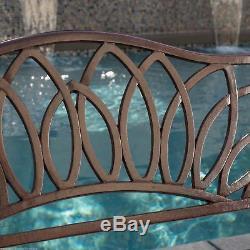Outdoor Patio Furniture Brown Cast Aluminum Garden Bench