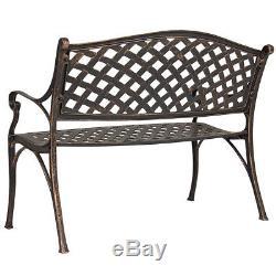 Outdoor Patio Furniture Cast Aluminum Garden Bench in Antique Copper, Bronze