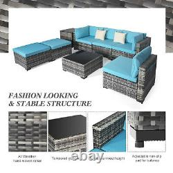 Outdoor Patio Furniture Set 8-Piece Rattan Wicker Sofa Sectional Garden Poolside