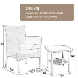 Outdoor Patio Furniture Sets 3 Pieces Patio Set Wicker Bistro Set Rattan Chair