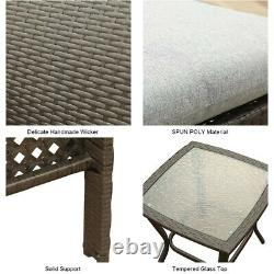 Outdoor Patio Furniture Sets Rattan Wicker Sofa Ottoman Couch Chairs Table Gray