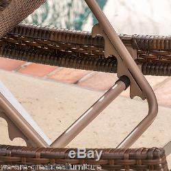 Outdoor Patio Furniture Single Adjustable Brown PE Wicker Chaise Lounge Chair