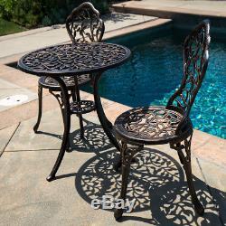 Outdoor Patio Furniture Tulip Design Cast Aluminum Bistro Set in Antique Bronze