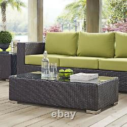 Outdoor Patio Furniture Wicker Rattan Glass Top Coffee Table in Espresso