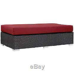 Outdoor Patio Furniture Wicker Rattan Rectangle Ottoman in Espresso Red