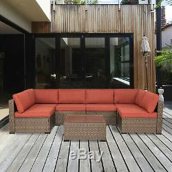 Outdoor Patio Furniture Wicker Sofa Set Cushioned Couch Maple Leaf With 2 Pillows