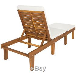 Outdoor Patio Poolside Furniture Set Of 2 Acacia Wood Chaise Lounge