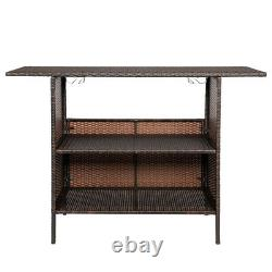 Outdoor Patio Rattan Wicker Bar Counter Table with Shelves Backyard Furniture US