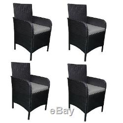 Outdoor Patio Rattan Wicker Furniture Dining Table Chair 4 PC Cushioned Black